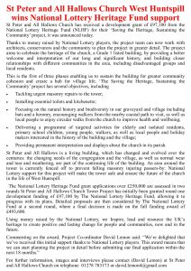 National Lottery Fund letter