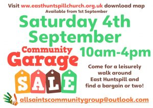 East Huntspill Community Garage Sale Saturday September 4th. visit homepage to download map
