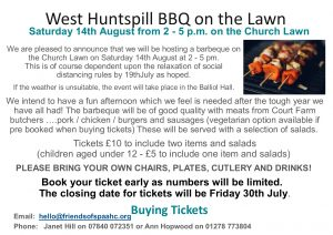 West Huntspill BBQ on the lawn 14th August for tickets call 01278773804
