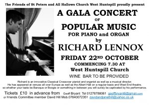 The Friends of St Peters and All Hallows Church West Huntspill proudly present Richard Lennox in concert at West Huntspill Church Friday 22nd October